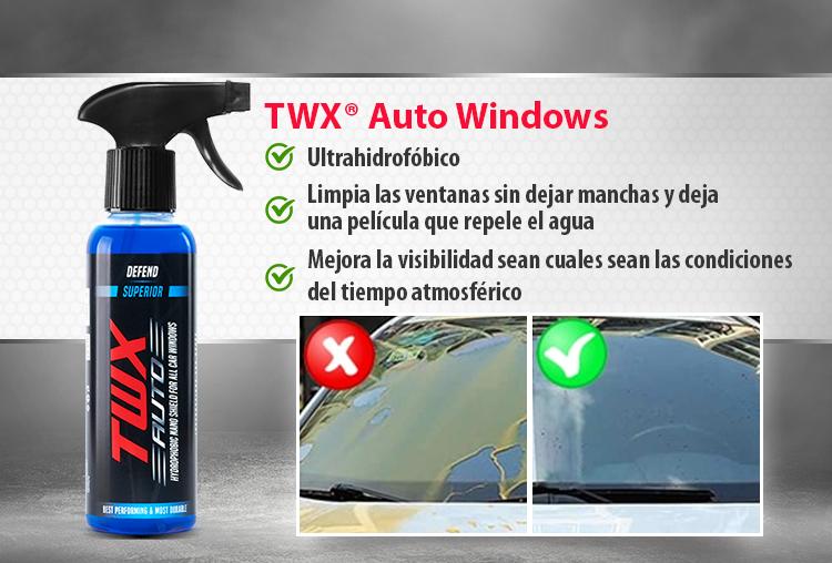 TWX® Auto Windows Nano revestimiento que repele el agua para ventanas de vehículos